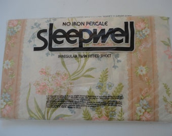 Vintage Unopened Unused No Iron Percale Floral Sleep Well Sheet Floral Twin Fitted Sheet Pink Blue Green Unused Twin Fitted Sheet Made USA