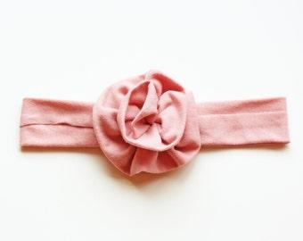 Soft Rose Jersey Knit Flower Headband - Baby to Adult Headband - Valentines