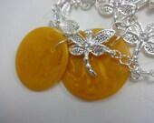 Delightful repurposed upcycled Bakelite & Silver Dragonfly Bracelet