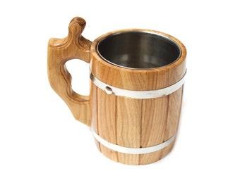 Wooden Beer Mug. Oak wood mug for cold and hot drinks. Handmade eco mug.