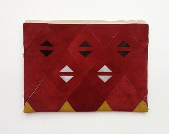 20% DISCOUNT // Large Patchwork Zip Clutch 03 // Was 95 Euros Now 76 Euros