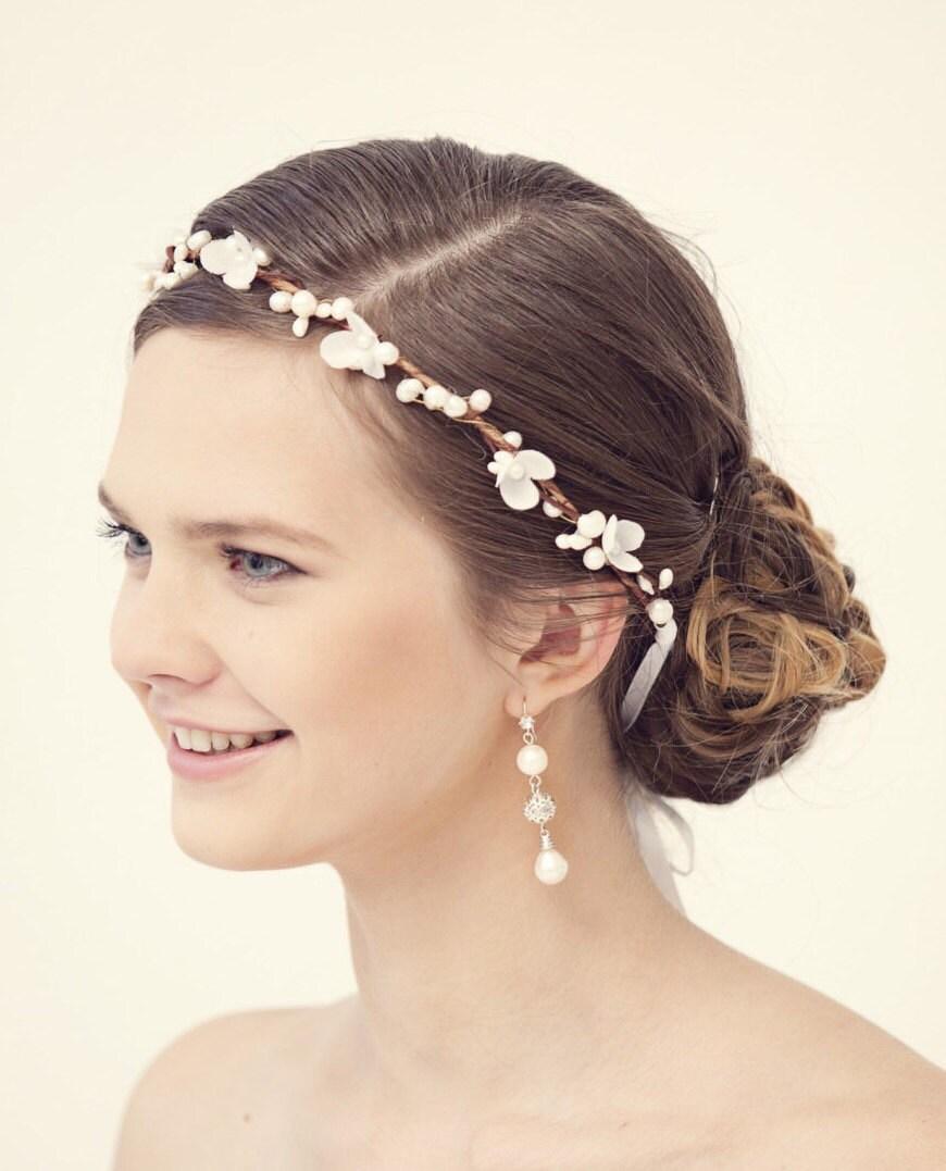 Wedding Hairstyle With Crown: Flower Crown Rustic Wedding Crown Bridal Flower Headband