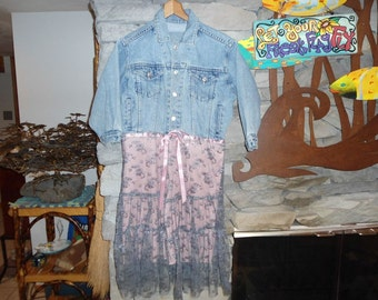 Little Girls Tween Gap Jean Jacket with Glittery Tierd Bottom