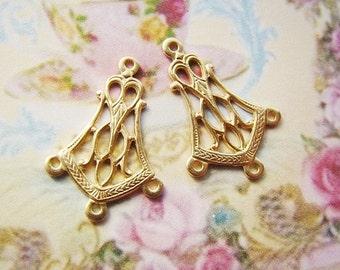Vintage Style Art Deco 4 Ring Brass Chandelier Earring Dangle Connectors Drops Raw Brass - 6
