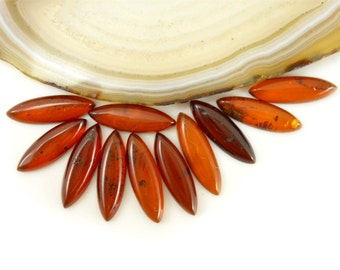 Natural Baltic Amber cabochon  -  dark cognac - 15x5mm - marquise cabochon - 1pice  cab