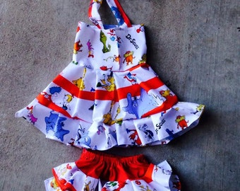 Dr Suess dress and bloomers set, Polka dot, Ruffle Dress, Pageant Wear size NB 3  6 9 12 24 months, size 2 3 4