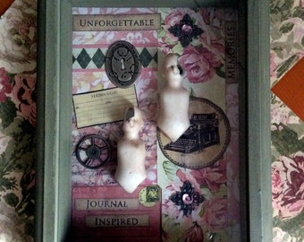 Unforgetable  Shabby Chic Shadowbox Mixed Media Wall Hanging