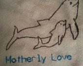 Flour sack Dishtowel - Dolphins mother and child