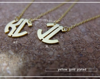 Sample Sale // Circle Monogram necklace - 3/4 inch - comes with chain free gift box. - yellow gold plated // SALE //