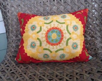 "Ready-to-ship: 12"" x 16"" pillow in Richloom Cornwall Cadium with Yellow Medallion"
