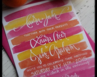 Pink Watercolor Calligraphy Wedding Invitation