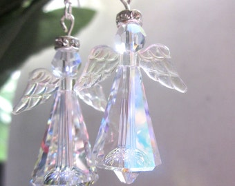 Ready to Ship ,Best Seller, Angel Earrings, Swarovski Crystal Angels,Stunning Earrings, Sparkle Angel Earrings