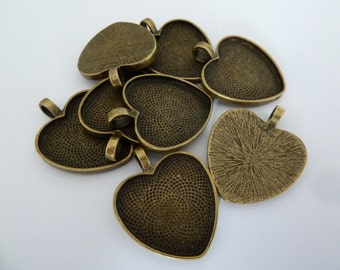 10 x Heart pendant trays - Antique Bronze