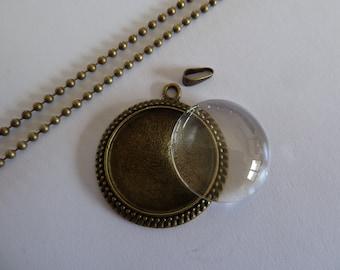 10 x DIY Antiqie Bronze round cameo style 25mm pendant kits