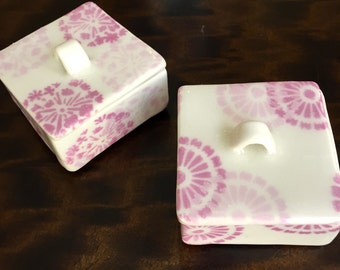 Porcelain Jewelry Boxes Lidded Miniature Hand Built and Painted Purple Violet Underglaze Satin Clear Glaze