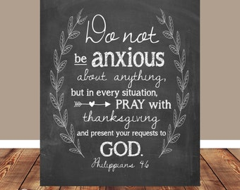 Bible verse, Scripture Art, scripture printable, Do not be anxious, Philippians 4:6, wreath printable, Printable, Chalkboard, Wall art print