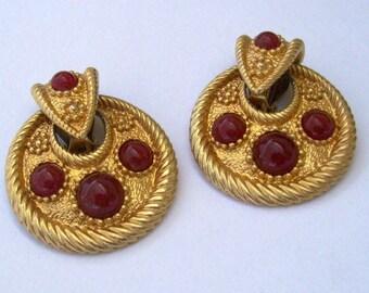 Carnelian Hoop Earrings Gold Plated Clip Ons Greek Goddess Dangles Byzantine Jewelry