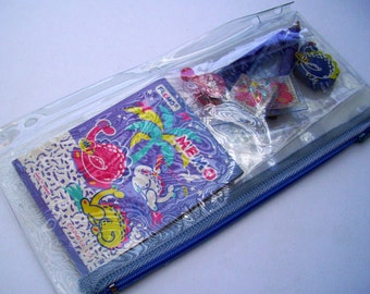 Blue Dragon Pencil Pouch. 80s Flomo Pencil Case. Clear Plastic Zipper Sleeve. Back to School. Blossom, VC, MTO