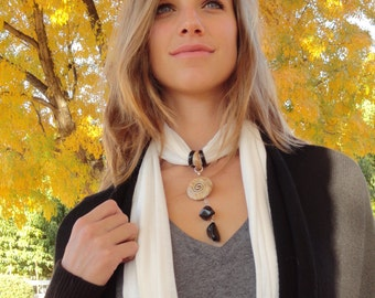 Crystalwear hemp scarf necklace with a Picture Jasper and Obsidian pendant. Reiki Charged & Blessed. Gift idea for her