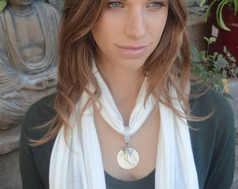 Crystalwear Reiki Attuned Hemp jersey scarf necklace with Shell, Peridot and Agate in a sterling silver setting. Jewelry Gift for her.