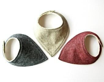 linen blend teething/ Drooling Bandana Baby Bib Bibdana set of 3