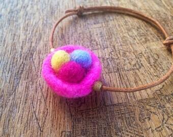 Kid Friendly Jewelry / Felted Birds Nest Bracelet / Wakdorf Inspired Art