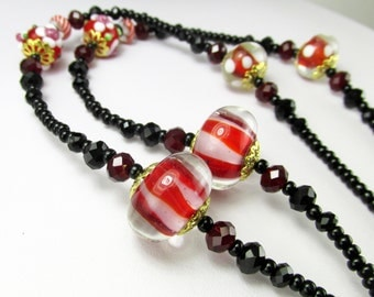 Black Red and Gold Gorgeous Beaded Lanyard