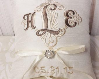 Ring Bearer Pillow, Monogrammed Ring Bearer Pillow, ring pillow, wedding pillow, personalized pillow
