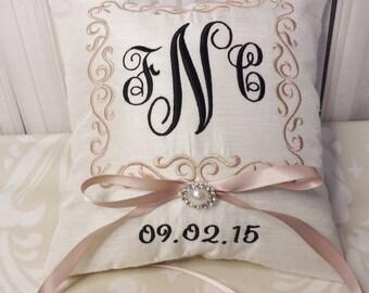 Ring Bearer Pillow, Monogram Ring Bearer Pillow, ring pillow, ring bearer, personalized pillow, custom pillow, embroidery,