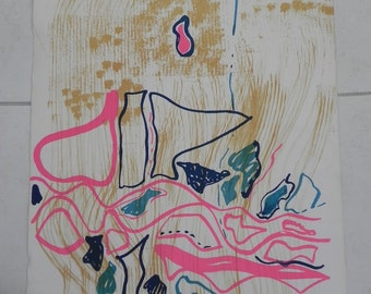"Abstract Composition Fisherman's Yarn Color Lithograph 22"" x 30"" Signed Lila Pell Katzen 1970s"