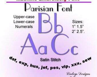 Download Machine Embroidery Alphabet: Parisian Font.