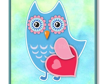 Owl in Love printable nursery art page. Kids room wall decor. Blue owl, red heart art. Digital download birds images watercolor background