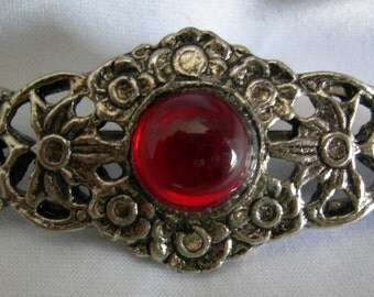 Victorian Inspired Silver Toned and Red Stone Filigree Brooch Pin | Unsigned | Vintage