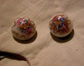 Venetian Glass Earrings Superb Vintage MURANO Glass Bead Earrings Wedding Cake Beads Venetian Art Glass Clip On Earrings