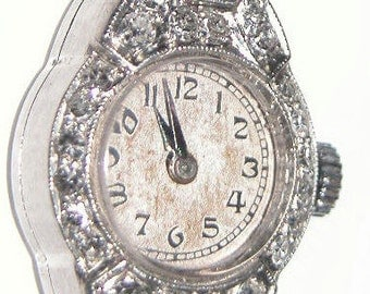 Art Deco Diamond Hamilton Ladies Watch Platinum Hamilton Watch Estate Piece! Antique Diamond and Platinum Hamilton Ladies Watch