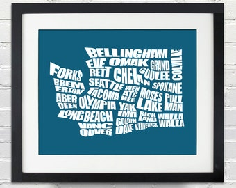 Washington Word Map - A typographic word map of cities in the state of Washington
