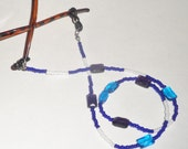 Youth eyeglass lanyard; Shimmering glasses necklace; Blue, white, purple beaded eye glasses chain