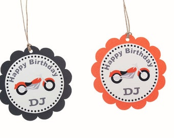 Motorcycle Favor Tags - Motorcycle Birthday