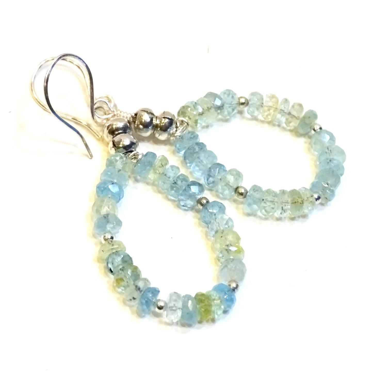 Aquamarine Gemstone Earrings: Hoop Earrings Of Natural AA Aquamarine Gemstones Drop