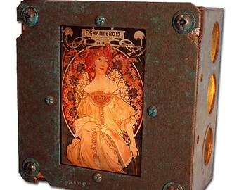 Art Nouveau Night Light Alphonse Mucha Industrial Chic F. Champenois