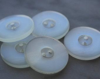 vintage white lucite buttons beautiful glow 5 buttons 2 holes 7/8 inch diameter 1950s excellent vintage condition.