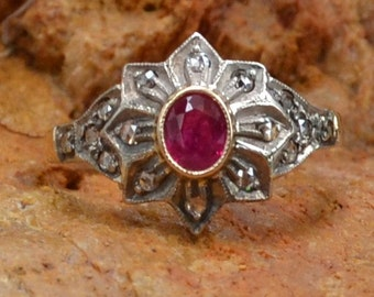 Antique Vintage 18K Gold, Ruby & Rose Cut Diamonds Halo Engagement Ring // Edwardian/Victorian 18K White and Yellow Gold  Wedding Ring