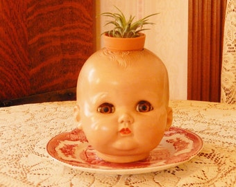 ONE Extra Fun, Extra Funky, Vintage Doll Head Planter, Pot Heads, Great Gift Idea