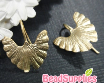 FN-ER-02047- Nickel Free, Matted gold plated, Ginko earrings, 4 pairs