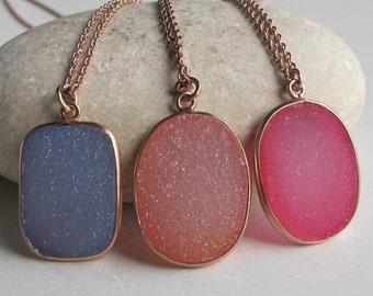Oval Druzy Necklace- Gifts for Her- Pink Necklace- Rose Gold Necklaces- Bridesmaid Gifts