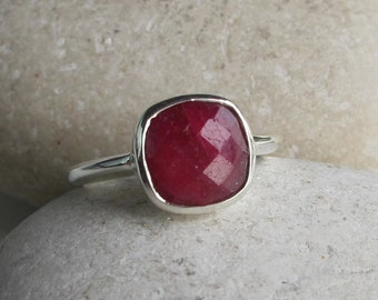 Square Shape Ruby Ring- Stackable Ruby Ring- Faceted Cushion Ruby Ring- July Birthstone Ring- Red Gemstone Ring- Sterling Silver Ring