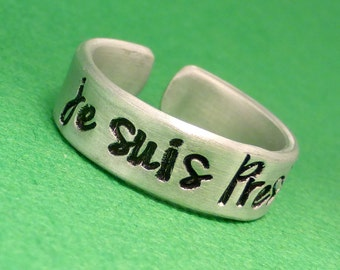 Je Suis Prest - A Hand Stamped Aluminum Ring