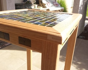 Accent Table - Inlayed Glass Deco Tile