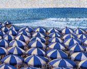 Riviera Fine Art Giclee Print, Riviera Umbrellas, Italy, Mediterranean, Pastel By Jan Maitland, Blue and White Umbrellas, Ocean, Beach, 8x10