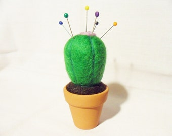 Needle Felted Cactus - felt cactus - 100% merino wool - needle felted pin cushion - cactus pin cushion